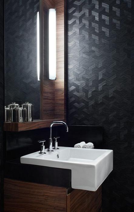 id e d co du papier peint dans la salle de bain une. Black Bedroom Furniture Sets. Home Design Ideas