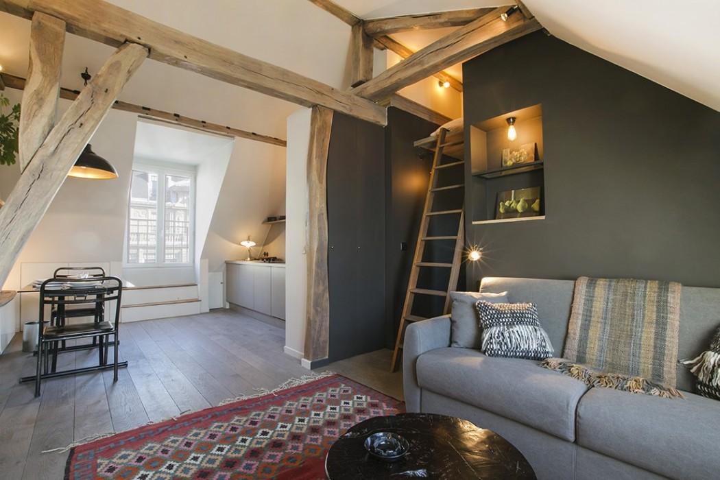 Un 30 m sous les toits qui optimise l 39 espace une for Appartement sous les toits