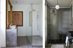 du béton ciré dans la salle de bain