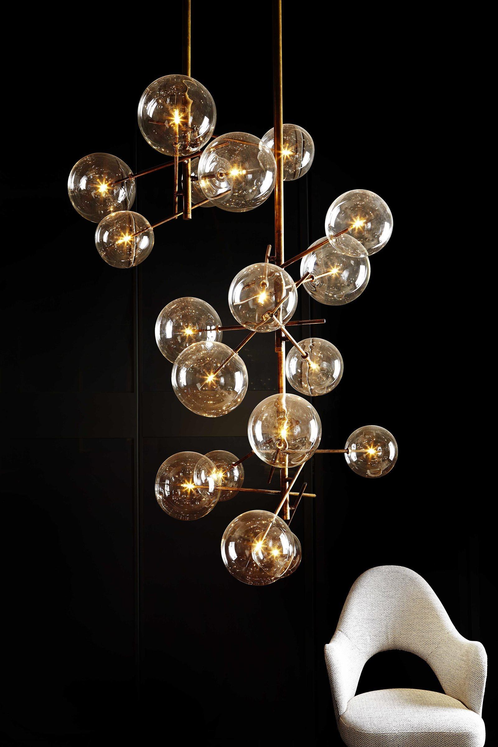 luminaire design verre et laiton 10