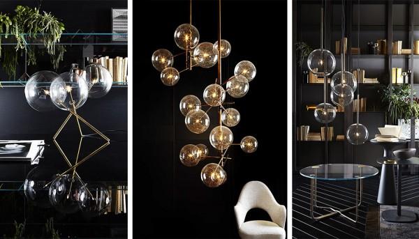 luminaire design verre et laiton