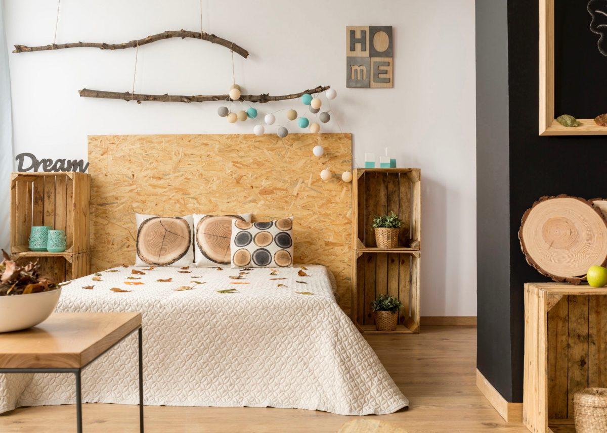 Deco osb tete de lit diy blog decoration clem around the - Faire une tete de lit en tissus ...
